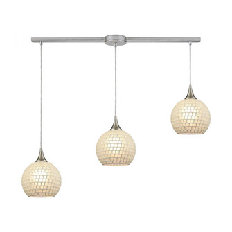 Fusion 3-Light Linear Mini Pendant Fixture in Satin Nickel with White Mosaic Glass (91|529-3L-WHT)