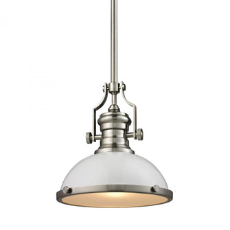 Chadwick 1-Light Pendant in Satin Nickel with Gloss White Shade (91|66525-1)