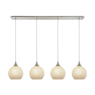 Fusion 4-Light Linear Pendant Fixture in Satin Nickel with White Mosaic Glass (91|529-4LP-WHT)