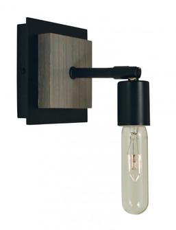 1-Light Matte Black With Grey Oak Accents Loft Sconce (84 5437 Mblack)