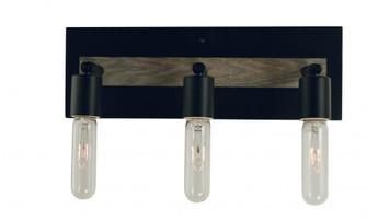 3-Light Matte Black With Grey Oak Accents Loft Sconce (84 5438 Mblack)