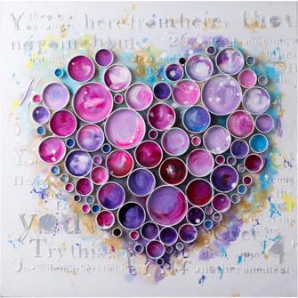 Work Of Heart Fuchsia Mixed-Media Wall Art (158|4DWA0112)