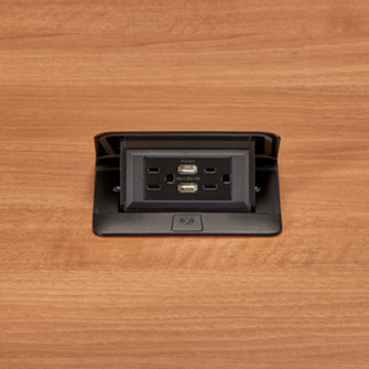 Cord Ended Dequorum™ Single Flip Up Unit with USB (1452 DQFP15UBK)