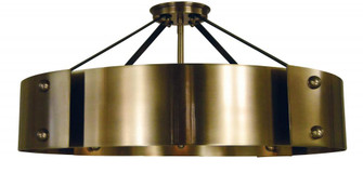 8-Light Antique Brass/Matte Black Lasalle Semi-Flush (84 5292 AB/MBLACK)