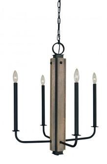 4-Light Matte Black With Grey Oak Accents Loft Chandelier (84 5414 Mblack)