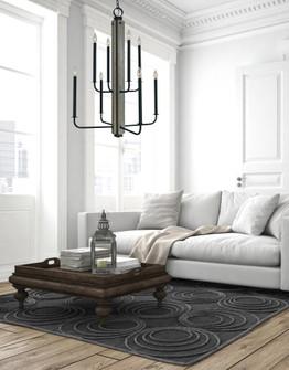 8-Light Matte Black With Grey Oak Accents Loft Foyer Chandelier (84 5418 Mblack)