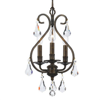 Ashton EX 3 Light Hand Cut Crystal Bronze Mini Chandelier (205|5013-EB-CL-S)