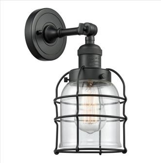 Small Bell Cage 1 Light Semi-Flush Mount (201F-BK-G52-CE-LED)