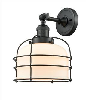 Large Bell Cage 1 Light Semi-Flush Mount (201F-BK-G71-CE-LED)