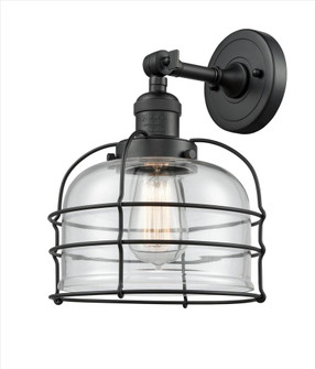 Large Bell Cage 1 Light Semi-Flush Mount (201F-BK-G72-CE-LED)