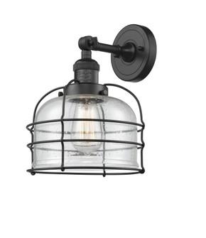 Large Bell Cage 1 Light Semi-Flush Mount (201F-BK-G74-CE)