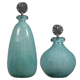 Uttermost Mellita Aqua Glass Bottles, S/2 (85|17841)