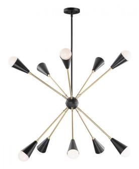 Lovell 10-Light Pendant with Bulbs (19|11268BKSBR/BUL)
