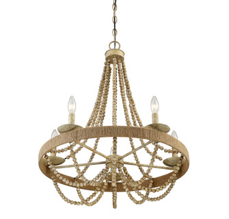 5 Light Natural Wood w/Rope Chandelier (8483|M10014-97)