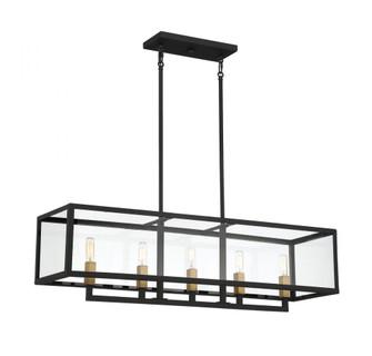 5 Light Textured Black W/ Warm Brass Accents Linear Chandelier (641|V6-L1-2927-5-137)