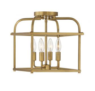 4 Light Natural Brass Semi Flush (8483|M60061NB)