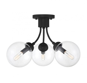 3 Light Matte Black Semi-Flush (8483|M60060MBK)