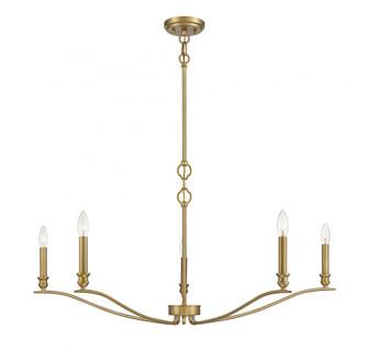 5 Light Natural Brass Chandelier (8483|M10086NB)