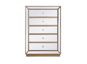 34 inch mirrored chest in antique gold (758 MF53026G)