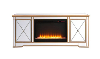 Modern 60 in. mirrored tv stand with crystal fireplace in antique gold (758 MF60160G-F2)