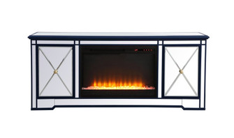 Modern 60 in. mirrored tv stand with crystal fireplace in blue (758 MF60160BL-F2)
