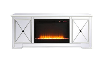 Modern 60 in. mirrored tv stand with crystal fireplace in antique white (758 MF60160AW-F2)