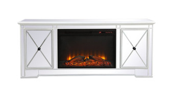 Modern 60 in. mirrored tv stand with wood fireplace in antique white (758 MF60160AW-F1)