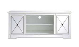 Modern 60 in. mirrored tv stand in antique white (758 MF60160AW)