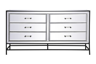60 inch mirrored 6 drawers chest in black (758 MF73036BK)