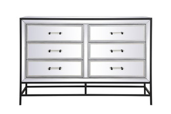 34 inch mirrored 5 drawers chest in black (758 MF73026BK)