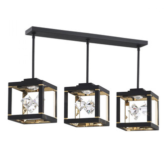 Fyra 3 Light Led Transitional Pendant in Black with Clear Crystals From Swarovski (168|SQB610N-BK1S)