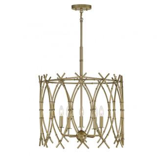 Cornwall 5 Light  New Burnished Brass Pendant (128 7-7776-5-171)