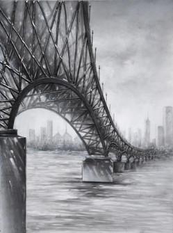 Moody Bridge Mixed-Media on Canvas Wall Art (158|4DWA0123)