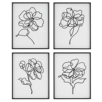 Uttermost Bloom Black White Framed Prints, S/4 (85|41430)