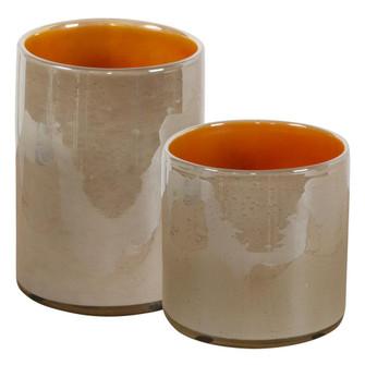 Uttermost Tangelo Beige Orange Vases, S/2 (85|17976)