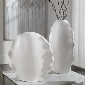 Uttermost Ruffled Feathers Modern White Vases, S/2 (85 17963)