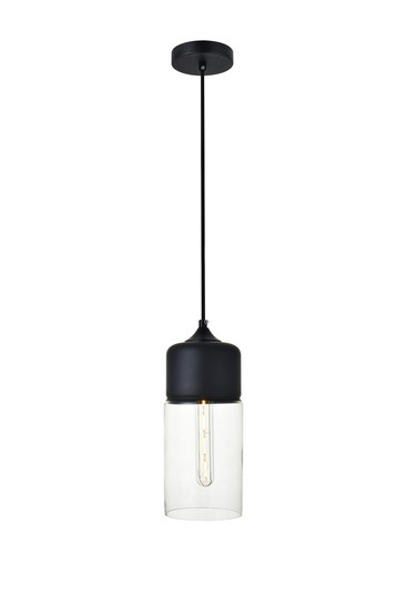 Ashwell 1 Light Black Pendant With Clear Glass (758|LD2240BK)