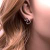 Silver double Heart Stud Earrings