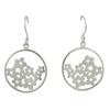 Silver circle & flower Drop Earrings