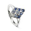 18ct White Gold Sapphire & Diamond Lace Ring