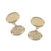 9ct Yellow Gold Hand-Engraved Oval double Cufflinks