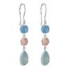 Silver Chalcedony & Rose Quartz Drop Earrings