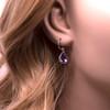 Silver & Amethyst Pear shaped Drop Earrings