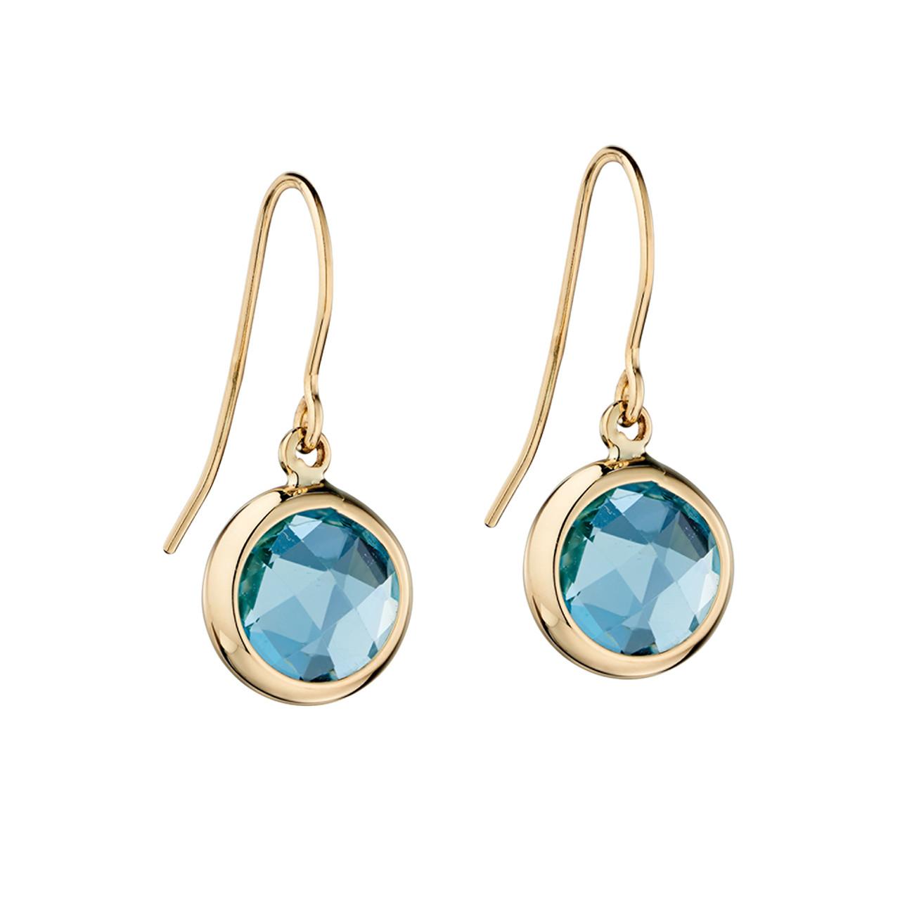9ct Yellow Gold Blue Topaz bezel Drop Earrings