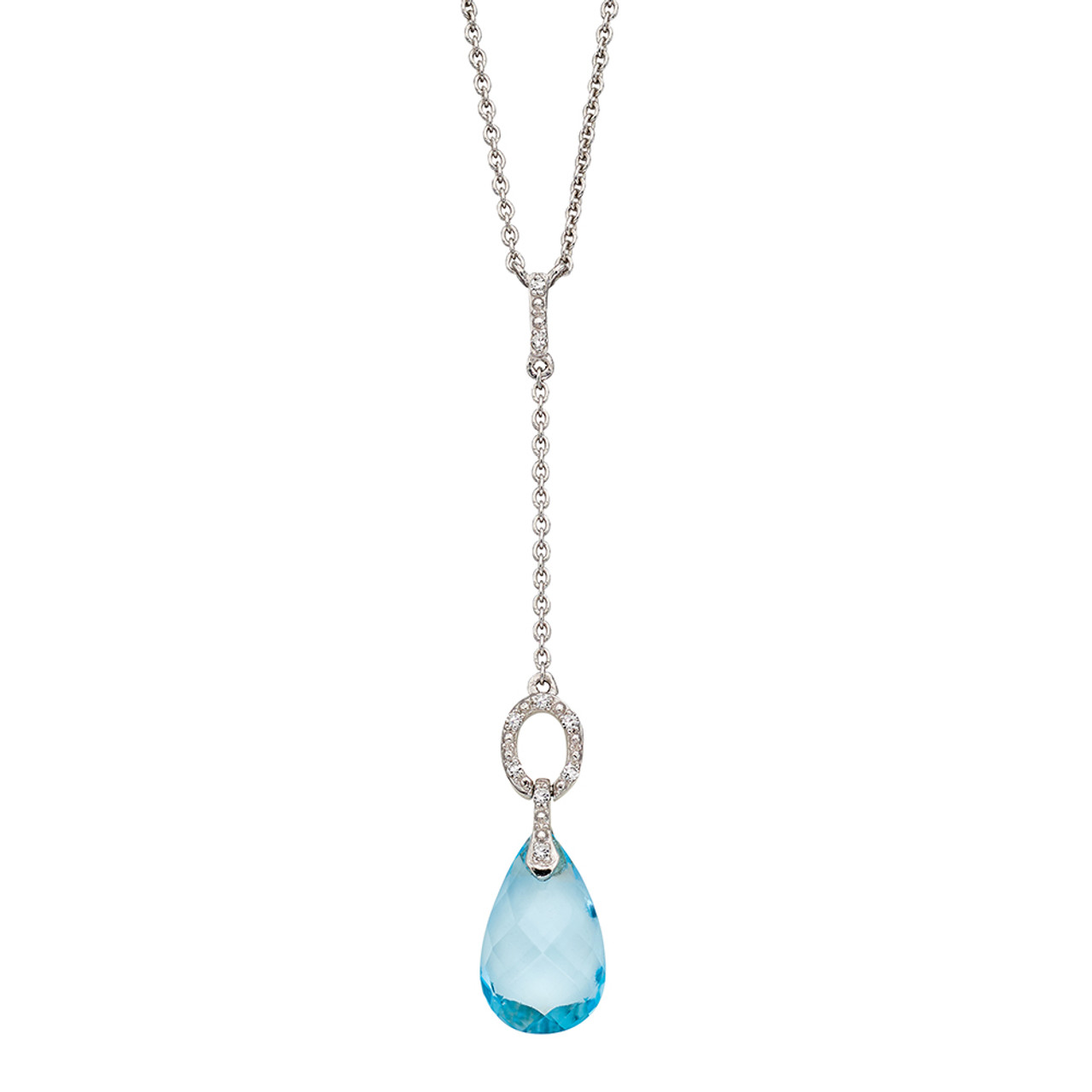 9ct White Gold Briolette Blue Topaz & Diamond Necklace