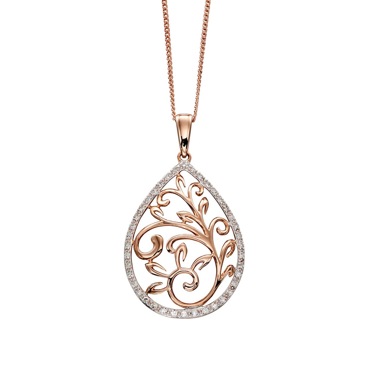 9ct Rose Gold Diamond set pierced Teardrop Pendant on Chain