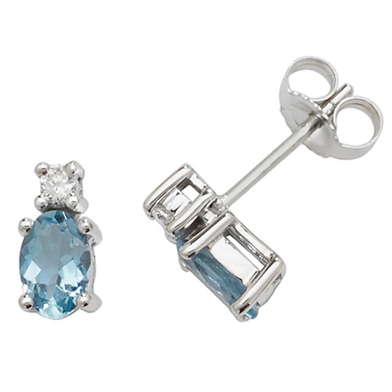 9ct White Gold Aquamarine & Diamond Oval Earrings