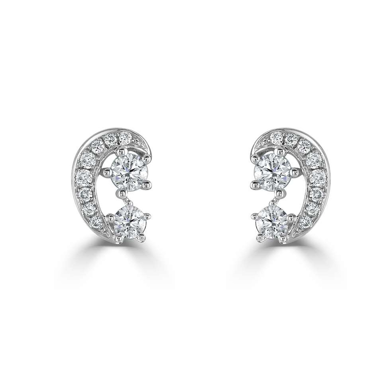 18ct White Gold Diamond Swirl Stud Earrings
