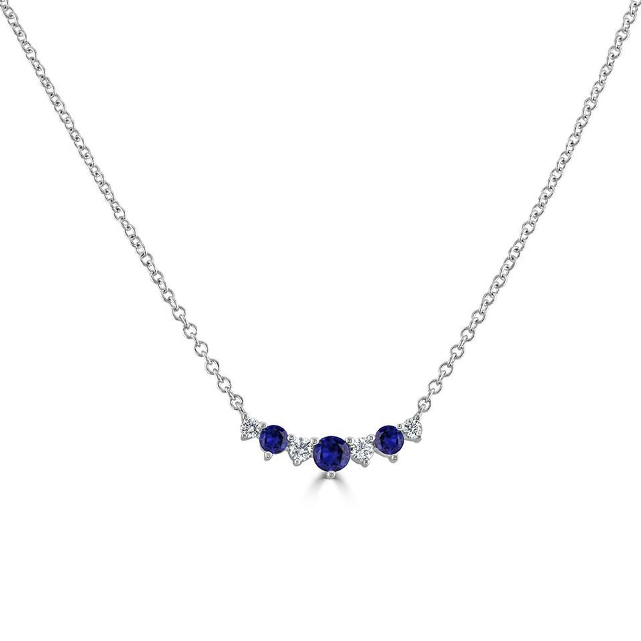 18ct White Gold Sapphire & Diamond Tiara Necklace