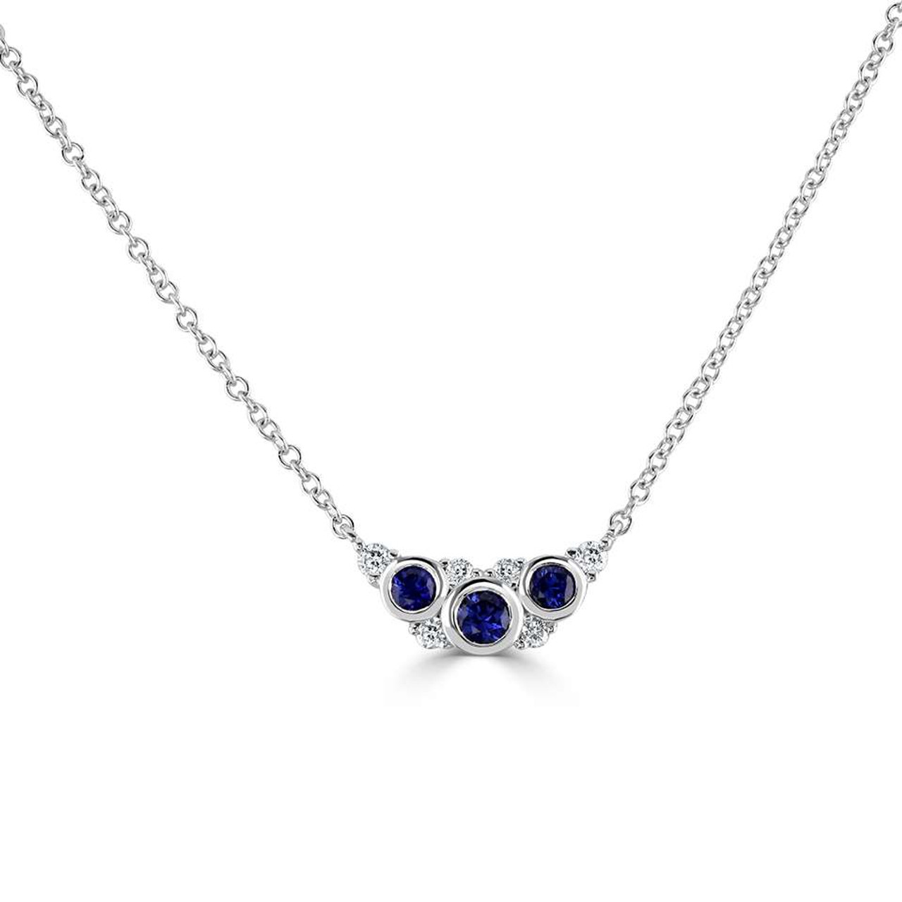 18ct White Gold Diamond & Sapphire Bouquet Necklace